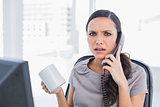 Irritated secretary answering phone