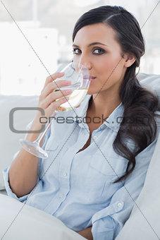 Attractive brunette drinking white wine sitting on sofa