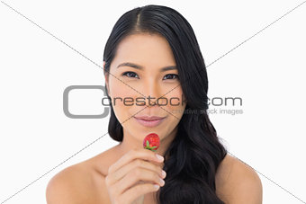 Calm attractive brown haired model eating strawberry