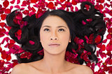 Thoughtful attractive dark haired model lying in rose petals