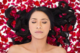 Relaxed attractive dark haired model lying in rose petals