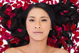 Sensual dark haired model lying in rose petals
