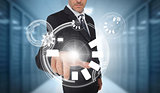 Businessman using circle interface