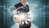 Businessman touching futuristic circle interface