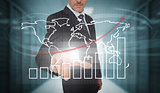 Businessman touching futuristic chart and map interface