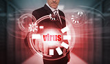 Businessman touching futuristic virus interface