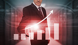 Businessman pressing red growth arrow and bar chart interface
