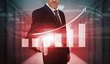 Businessman pressing bar chart and arrow interface