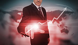 Businessman selecting red growth arrow interface