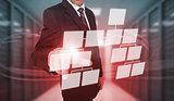 Businessman touching futuristic flowchart interface