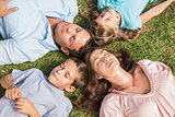 Family lying on the grass in a circle