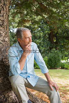 Thoughtful mature man sitting on tree trunk