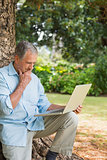Retired man leaning against tree with a laptop