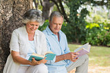 Mature couple reading books together sitting on tree trunk
