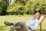 Happy man relaxing