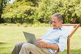 Smiling mature man using his laptop