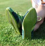 green sole of shoes l
