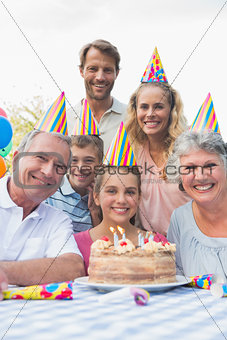 Happy extended family at birthday party