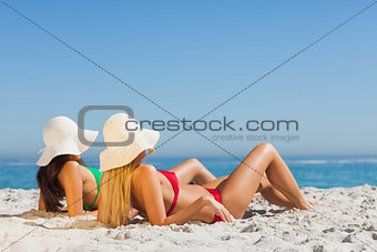 Attractive women in bikinis sunbathing