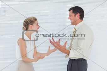 Angry business team having heated argument
