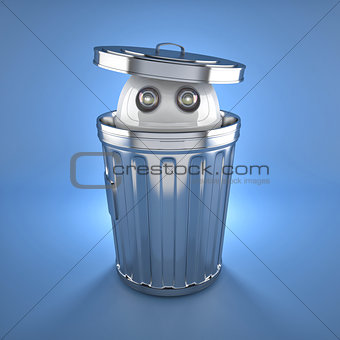 Android robot inside trash bin.