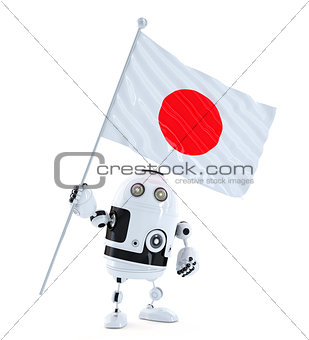 Android Robot standing with flag of Japan