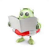 Robot reading manual.