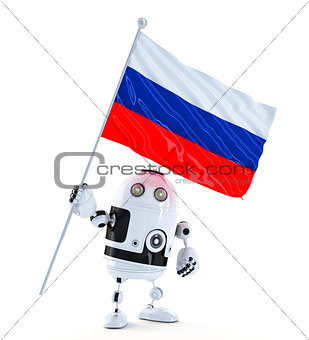 Android Robot standing with flag of Russia.