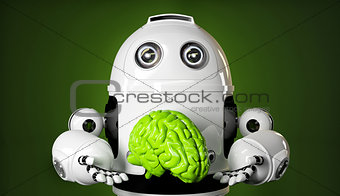 Android holding a large green brain