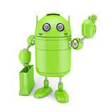 Green Android with shoping bag