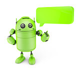 Android with dialogue bubble