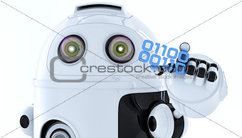 Android robot holding piece of binary code