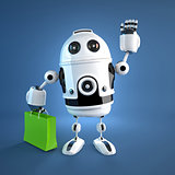 Android robot with shopping bag.