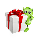 Robot carrying huge gift box