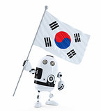 Android Robot standing with flag of South Korea