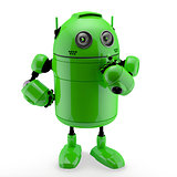 Side view of a  thinking Android