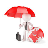Businessman with Umbrella and earth globe. Global protection concept