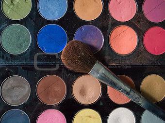 Top View of dirty makeup brush