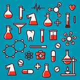 Scientific icons with reflection, vector Eps10 illustration.