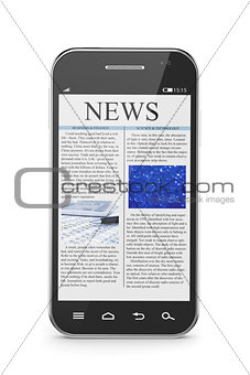 Smart phone with business news article