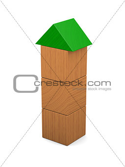 Tower made of wooden blocks