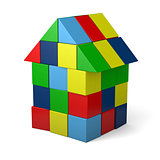 Toy house made of cubes