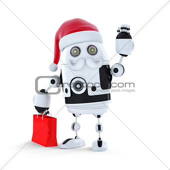 Android robot with santa's hat and a shopping bag