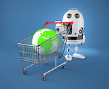 A shopping cart containing a globe. Gglobal market concept