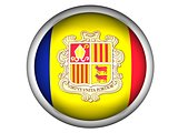 National Flag of Andorra . Button Style .  Isolated