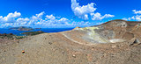 Panoramic view of volcano crater and Lipari islands, Sicily