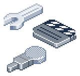 Pixel retro style isometric icons