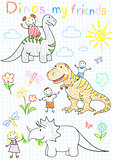 Vector sketches happy children's and dinosaurs