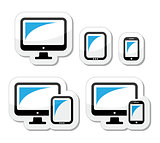 Computer, tablet, smartphone vector icons set