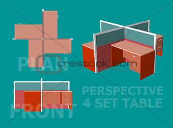 Four Office Table Set Design